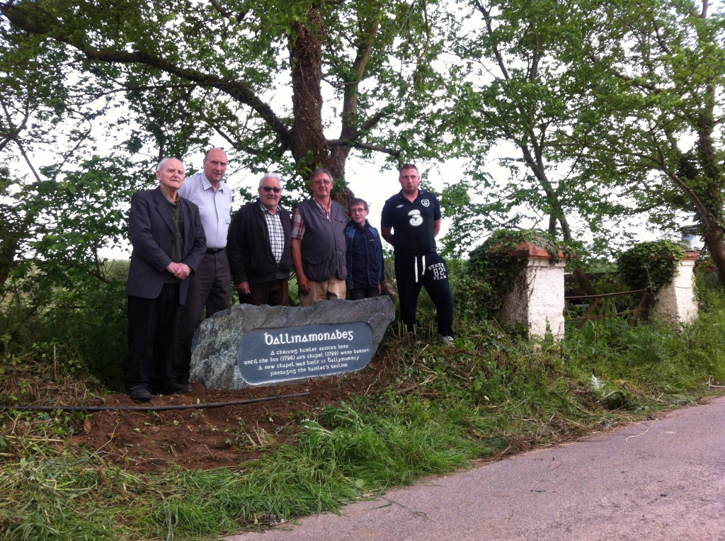 Pat Devereux Jimmy Adams Peter Wickham Michael Burke John Burke James Adams erecting stone marker June 3rd 2014